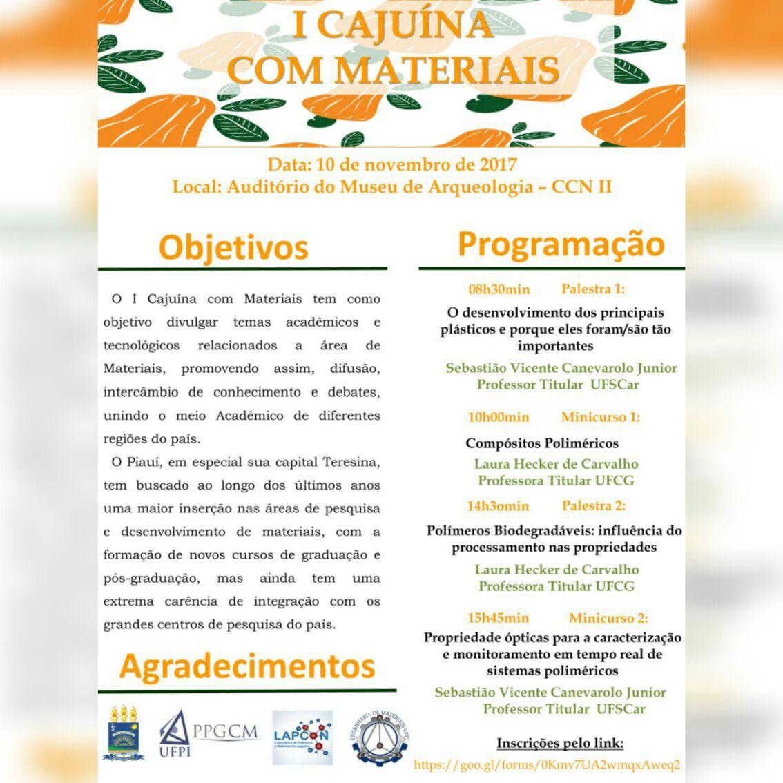 7d3f4db9ff342 A Universidade Federal do Piauí (UFPI), por meio da Pós-Graduação em  Ciências dos Materiais e da Coordenação do Curso de Engenharia de Materiais  do Centro ...